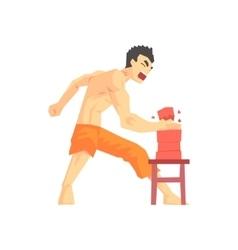 Man breaking bricks with hand judo martial arts vector