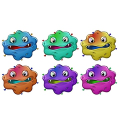 Six head of angry monsters vector image