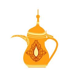 Golden arabic teapot colorful vector