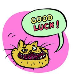 Good luck cartoon cat head vector