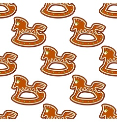 Gingerbread brown horses seamless pattern vector image