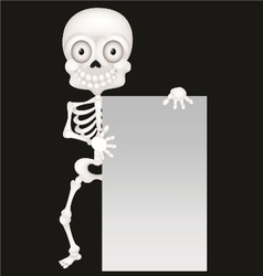 Funny skeleton cartoon with blank sign vector