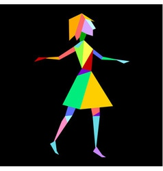 Abstract bright polygon girl on black background vector