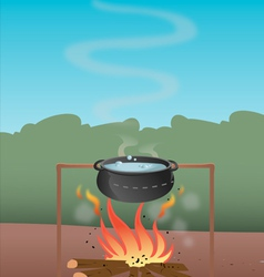 Pot boiling water firepit vector