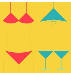 Swimsuit martini glasses and lamp inverted icon vector