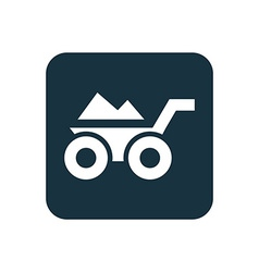 Construction wheelbarrow icon rounded squares vector