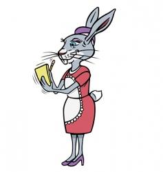 rabbit waitress vector image