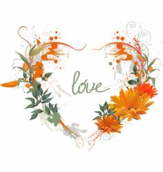 floral grunge heart vector image