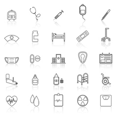 Hospital line icons with refelct on white vector