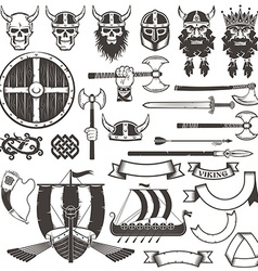 Set viking items vector
