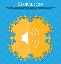 Volume sound floral flat design on a blue abstract vector