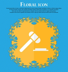 Judge hammer icon floral flat design on a blue vector