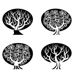 set of black and white trees vector image
