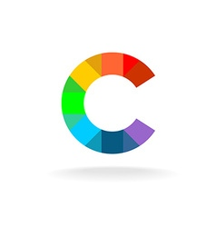 Letter c colorful rainbow logo overlay particles vector