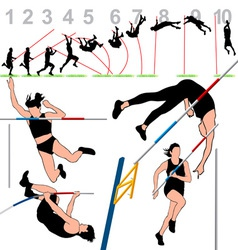 Pole vault athletes set vector