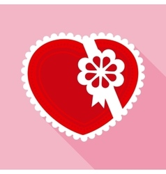 Red valentine heart for gift in flat style vector