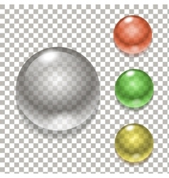 Set of colorful balls glass sphere vector