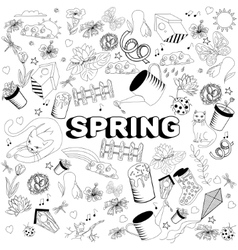 Spring line art design vector