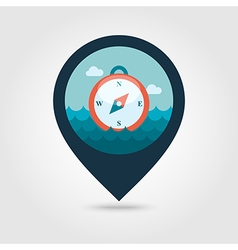 Compass pin map icon summer vector