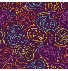 background with Halloween pumpkins vector image