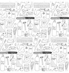 Bath accessories hand drawn seamless pattern vector
