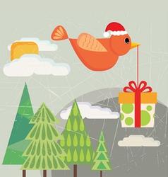 bird carrying gift box vector image