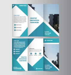 Blue business trifold leaflet brochure templates vector