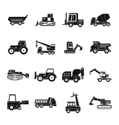 Building vehicles icons set simple style vector