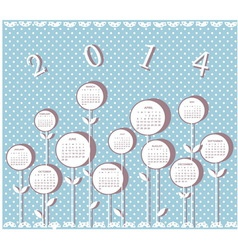 Calendar for 2014 year with flowers vector image