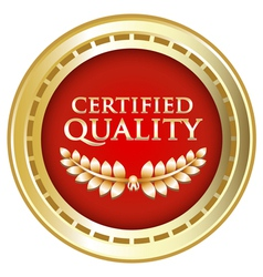 Certified quality gold emblem vector