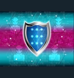 Cyber security shield guard vector