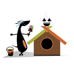 Dog paints a house vector