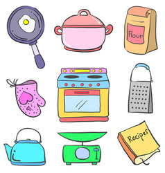 Doodle of kitchen colorful equipment vector