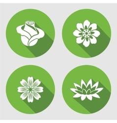 Flower icons set rose chamomile blue poppy vector