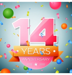 Fourteen years anniversary celebration background vector