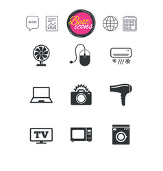 Home appliances device icons electronics sign vector