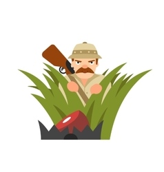 hunter in ambush vector image vector image