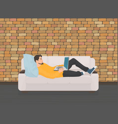 Man lying relaxing on the sofa couch and using vector image vector image