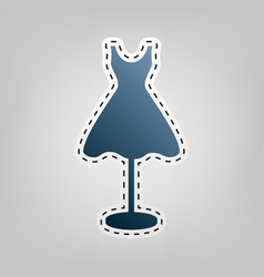 Mannequin with dress sign blue icon with vector