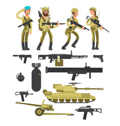 military soldiers with ammunition guns and vector image vector image