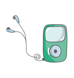 mp3 player with headphones to listen music vector image