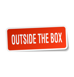 Outside the box square sticker on white vector