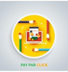 Pay per click concept internet advertising model vector