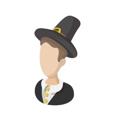 Pilgrim man cartoon icon vector image vector image