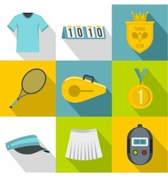 Play in tennis icons set flat style vector