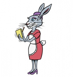 rabbit waitress vector image vector image