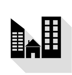real estate sign black icon with flat style vector image vector image