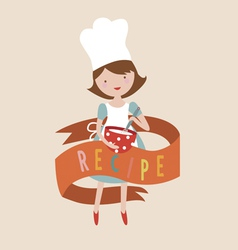 Recipe design with girl cooks vector