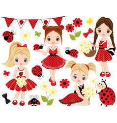 set with little girls ladybugs and flowers vector image