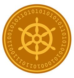 Ship steering wheel digital coin vector